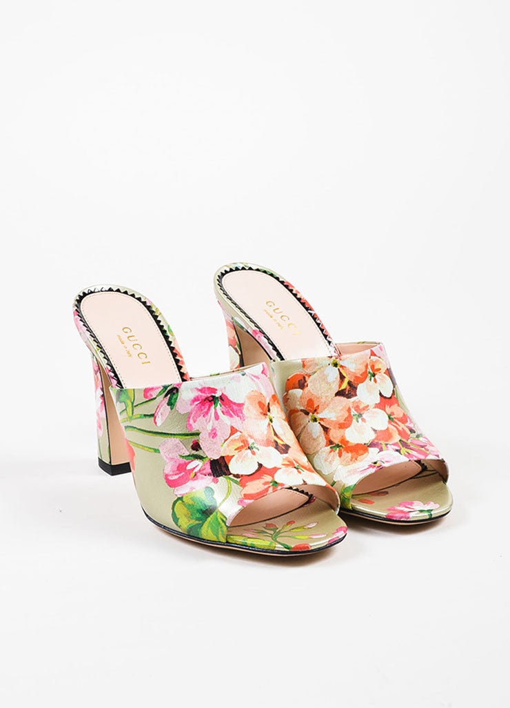 "Multicolor Guccci Leather Floral ""Soft St. Blooms"" Mule Sandals Front"