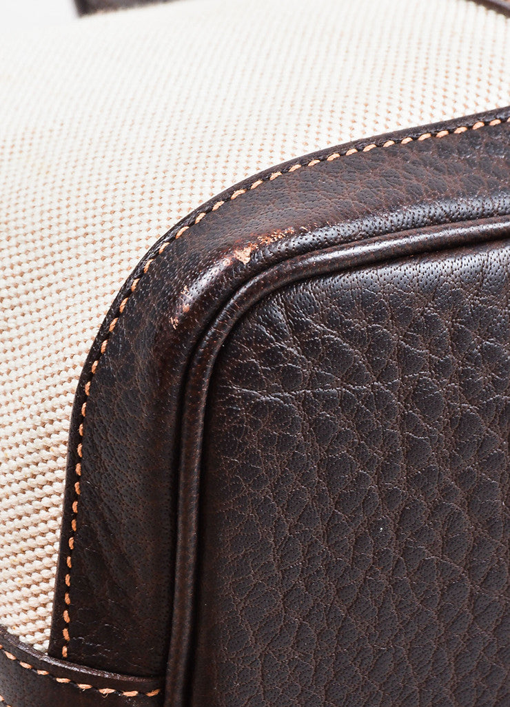 "White and Dark Brown Hermes Toile TPM ""Garden Party"" Tote Detail 2"