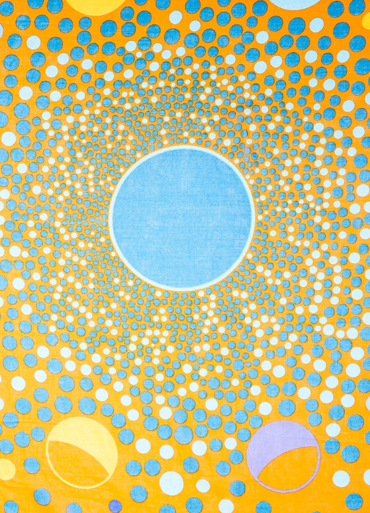 Orange and Blue Hermes Cotton Circle Print Beach Pareo Detail