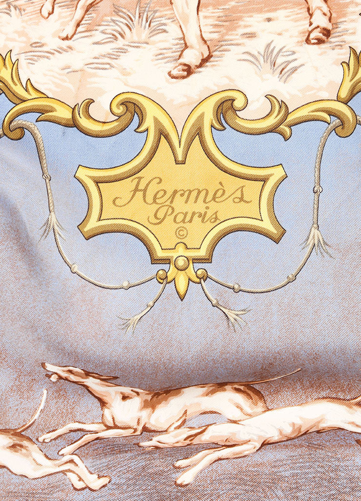 "Hermes Brown, Blue, and Multicolor Twill Silk Colonial Print ""Chiens et Valets"" Scarf Brand"