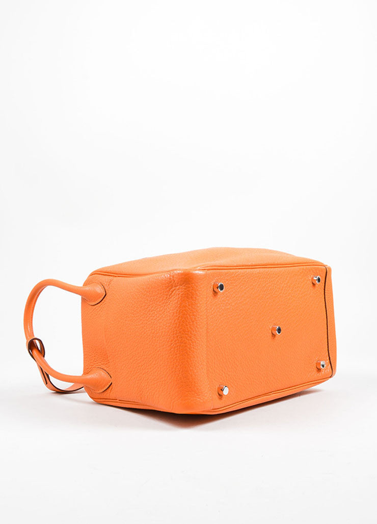 "Hermes Fire Orange Taurillon Clemence Calfskin Leather 30cm ""Lindy"" Bag Bottom View"
