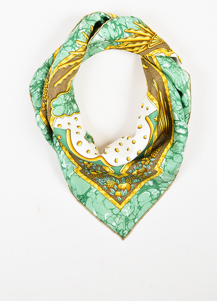 "Hermes Green and Gold Cream Silk ""Carpe Diem"" Sun Print 90cm Square Scarf Frontview"