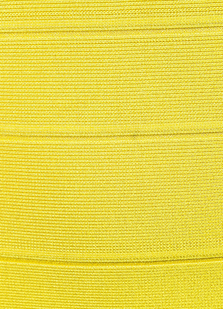 Yellow Herve Leger Bandage Stretch Knit Sleeveless Bodycon Dress Detail 2