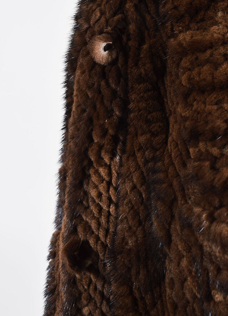 Dark Brown J. Mendel Fur Quilted and Cabled Shawl Lapel Belted Coat Detail 2