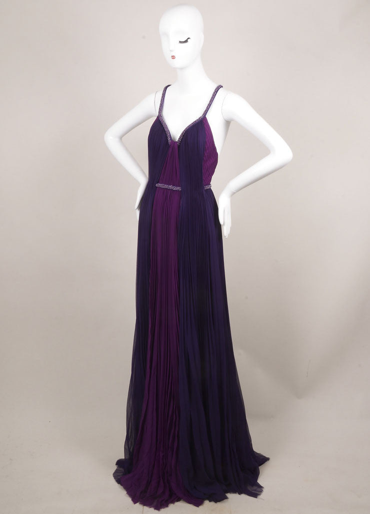 J. Mendel New With Tags Purple Silk Beaded Sleeveless Pleated Gown Sideview
