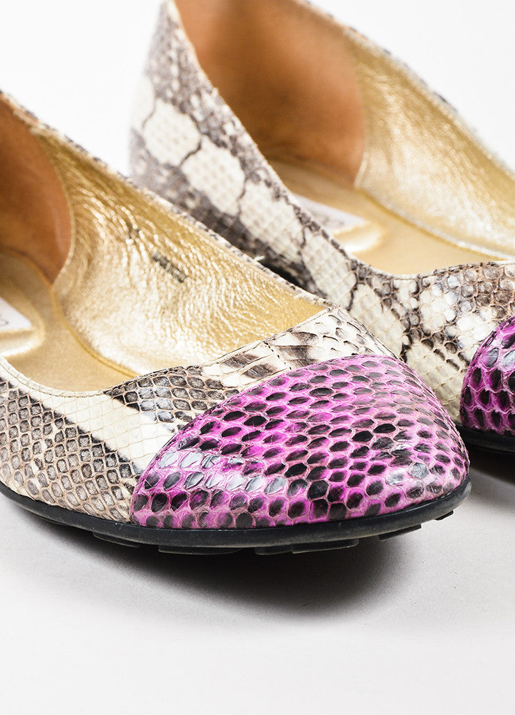 "Jimmy Choo Cream and Purple Snakeskin Cap Toe ""Whirl"" Ballet Flats Detail"