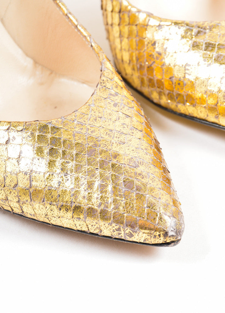 Metallic Gold Jimmy Choo Python Pointed Toe Pumps Detail
