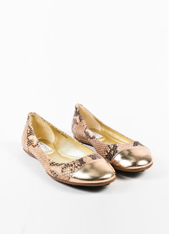 "Jimmy Choo Cream and Brown Snake Embossed Cap Toe ""Whirl"" Flats  Frontview"