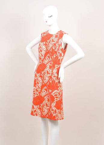 Jonathan Saunders New With Tags Red and Beige Silk and Wool Floral Print A-Line Dress Sideview