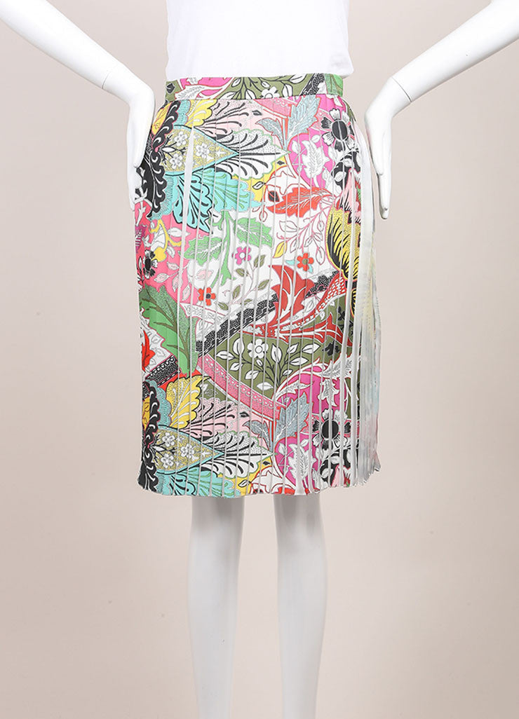 "Jonathan Saunders New With Tags Multicolor Floral Print Pleated ""Harleth"" Skirt Frontview"