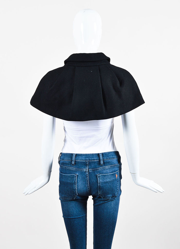 Black Louis Vuitton Wool Pleated Mini Cape Backview