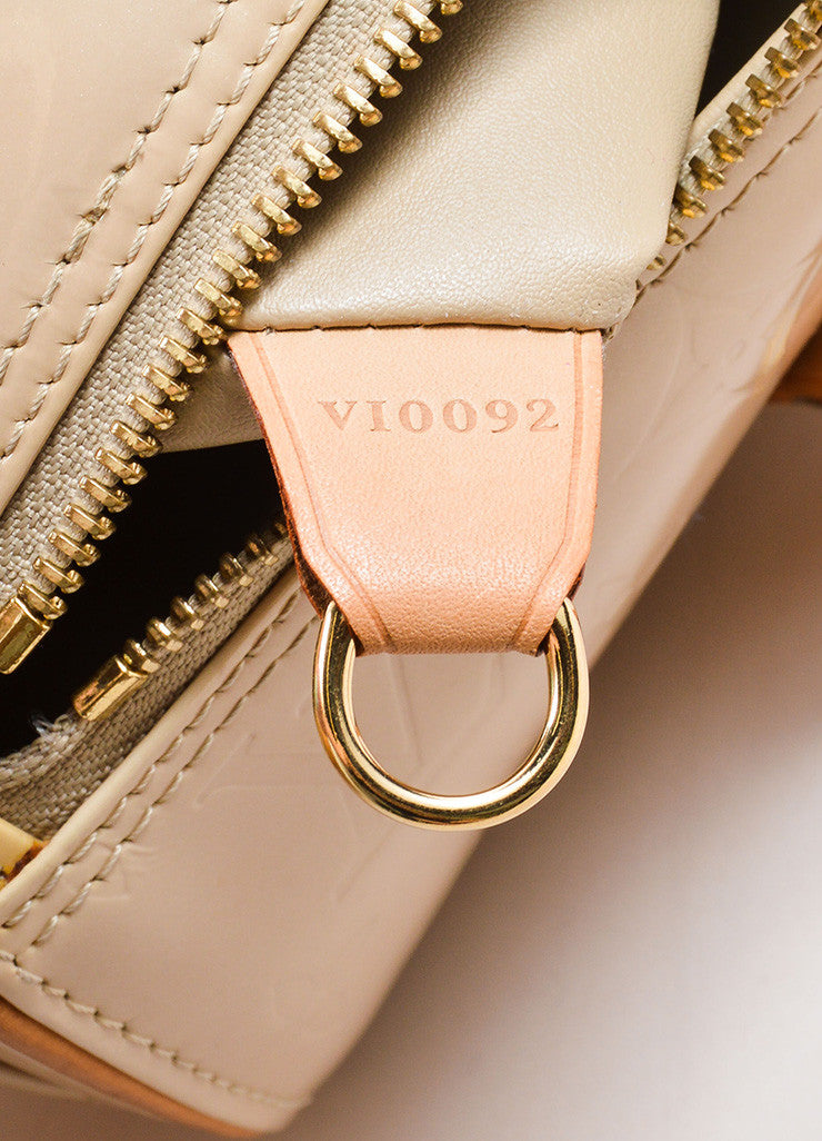 "Louis Vuitton Beige Patent Leather Monogram ""Vernis Bedford"" Barrel Bag Date Code"