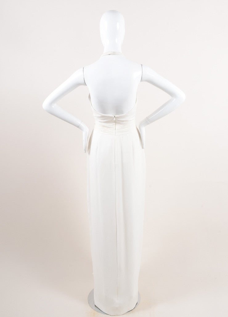 Marchesa Notte White Silk Chiffon Draped Rhinestone Halter Gown Backview