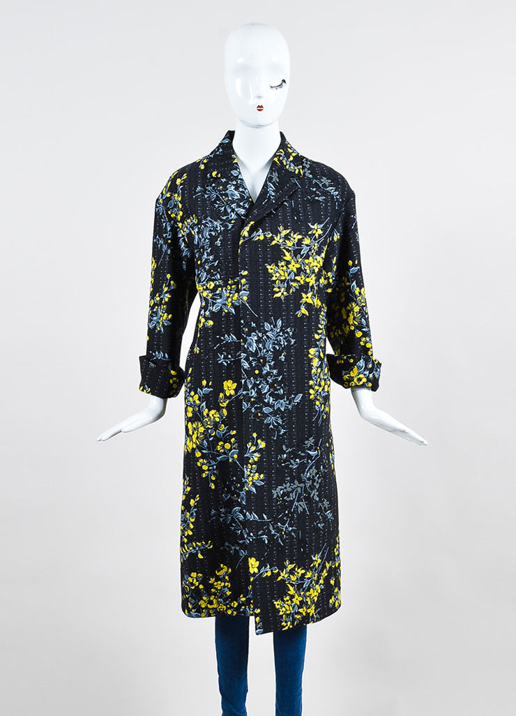 Black, Yellow, and Grey Marni Wool and Silk Blend Floral Print Long Jacket Frontview 2