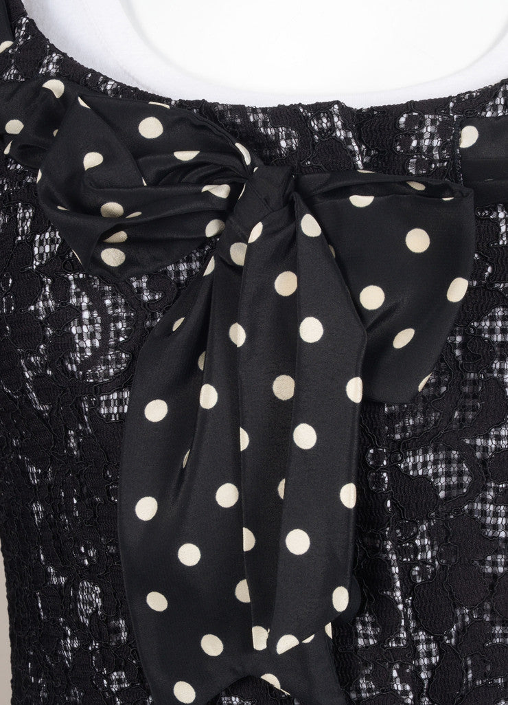 Moschino Cheap & Chic Black and White Check Lace Polka Dot Bow Jacket Detail