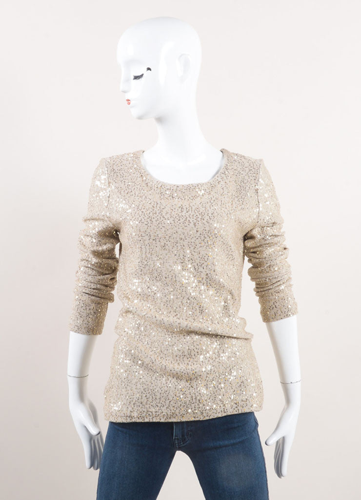 Oscar de la Renta New With Tags Beige and Gold Sequin Embellished Long Sleeve Knit Sweater Frontview