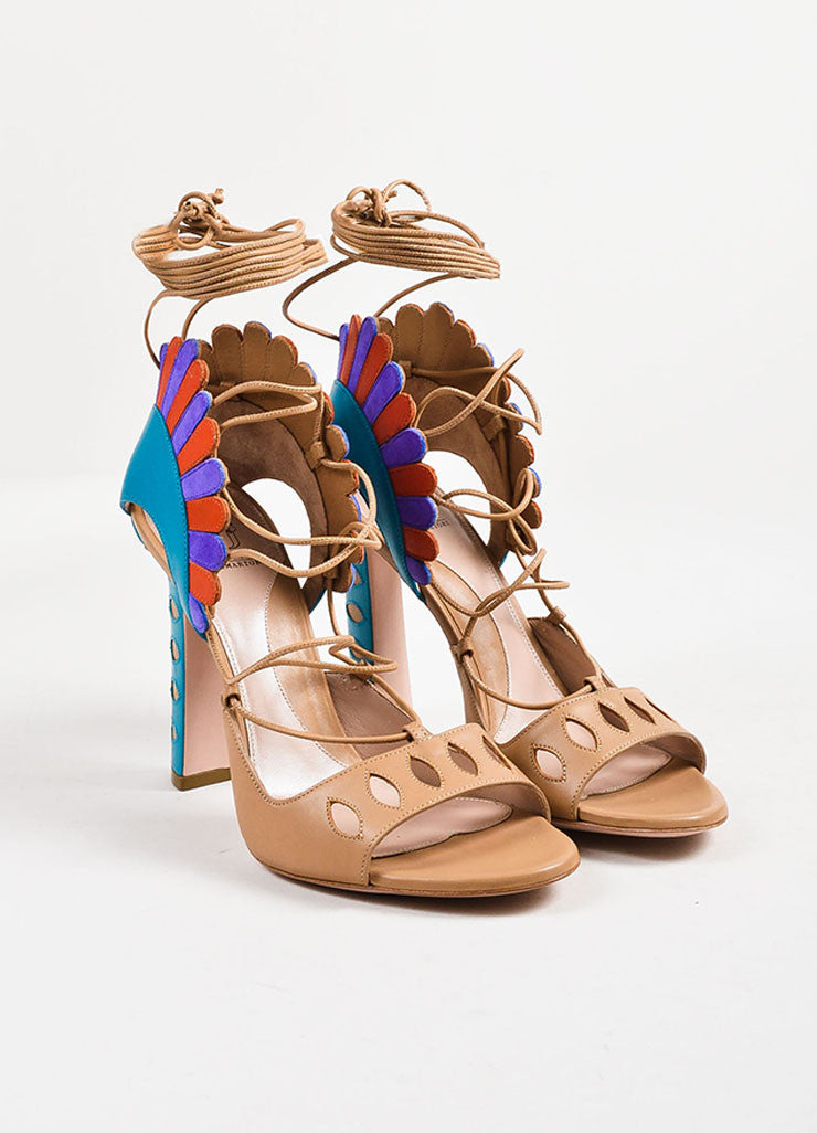 "Paula Cademartori Nude and Multicolor ""Cappuccino"" Leather ""Lotus"" Sandals Frontview"