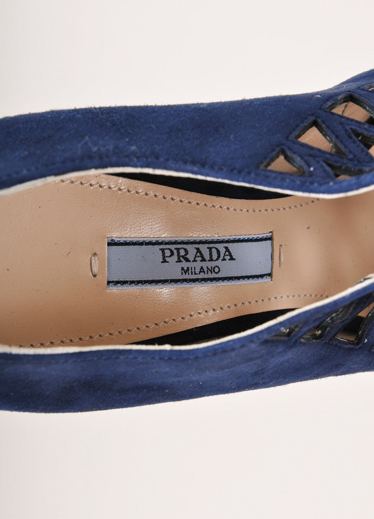 Prada Navy Blue Suede Leather Cage Cut Out High Heel Ankle Booties Brand