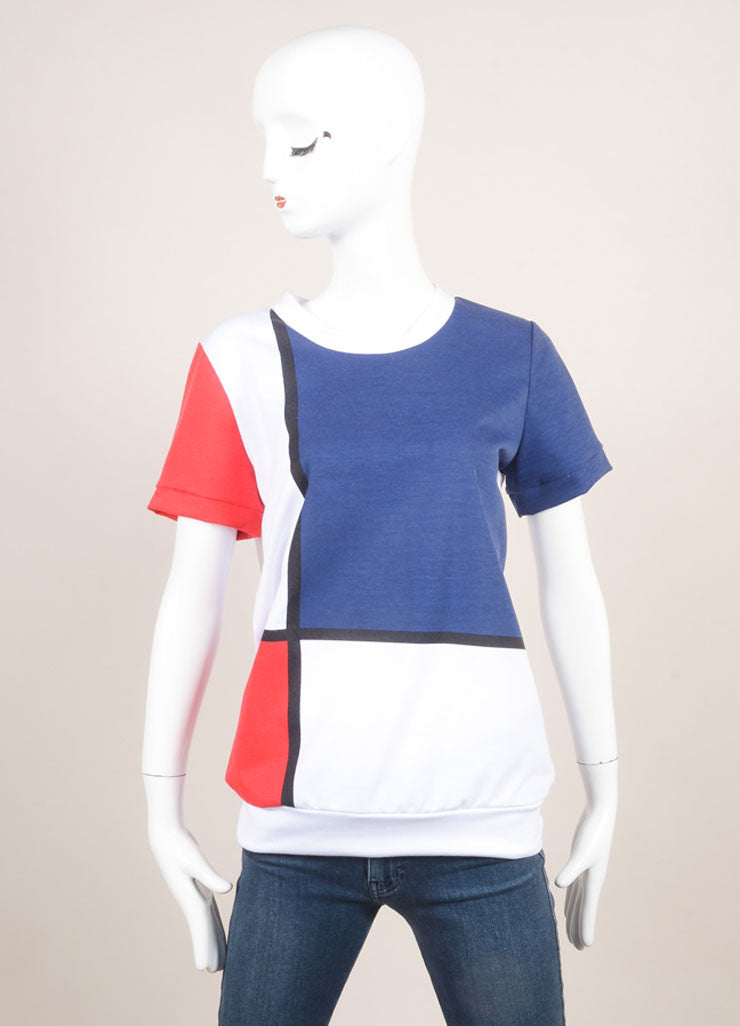 "Pret a Surf New With Tags White, Navy, and Red ""Mondrian"" Print Short Sleeve Cotton Sweatshirt Frontview"