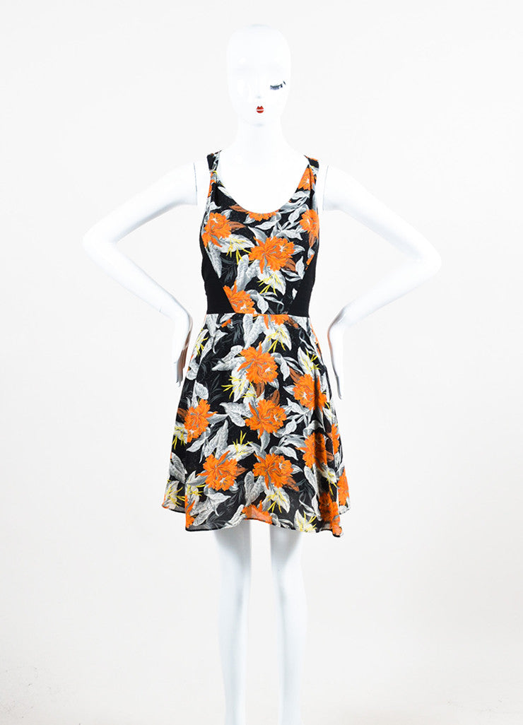 Black, Orange, and Grey Proenza Schouler Silk Sleeveless Hibiscus Flippy Dress Frontview