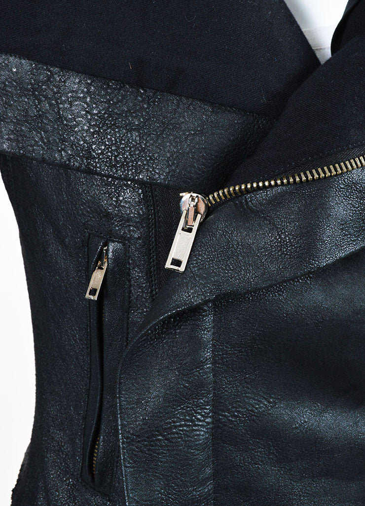 Rick Owens Black Coated Leather and Wool Laced Sleeve Asymmetrical Jacket Detail