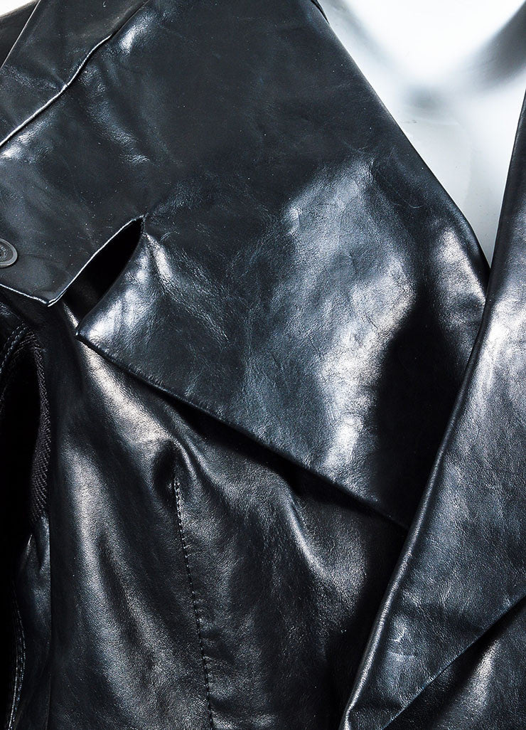 "Black Rick Owens Leather ""Salon"" Trench Coat Detail"