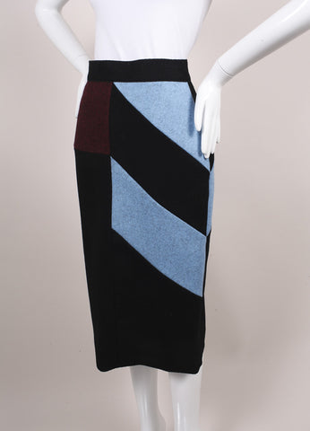 "Roksanda Ilincic New Black, Blue, and Red Color Block Wool ""Alba"" Skirt Sideview"