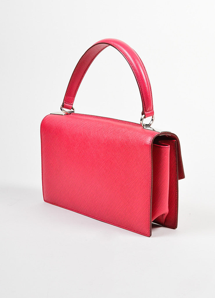 Red Salvatore Ferragamo Pebbled Leather Two Way Handle Cross Body Bag Sideview