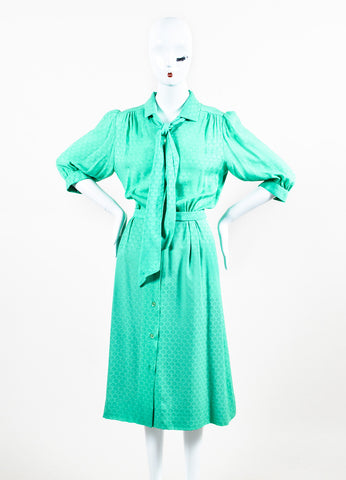 Hermes Green Silk 'H' Flag Belted Three-Quarter Length Sleeve Dress Frontview