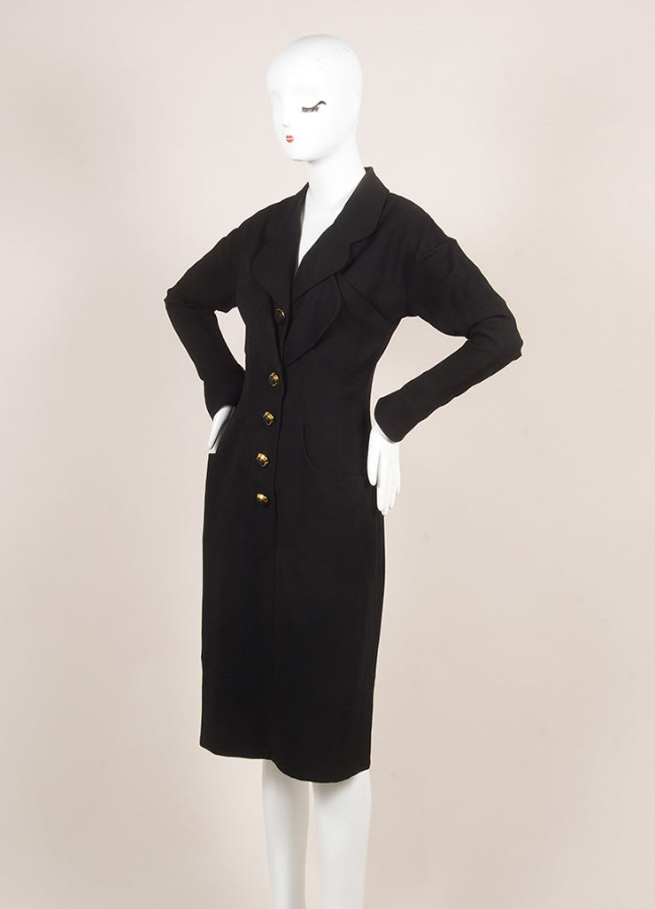 Vintage Karl Lagerfeld Black Wool Paneled Button Up Long Sleeve Dress Sideview