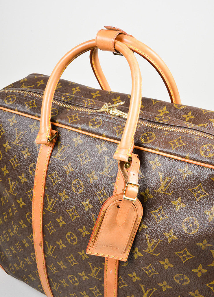 "Brown Louis Vuitton Monogram Canvas ""Sirius 55"" Luggage Travel Bag Detail 2"