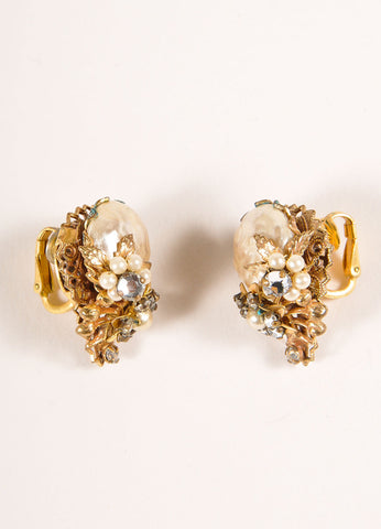 Original by Robert Gold Toned and Cream Faux Pearl and Rhinestone Clip On Earrings Frontview