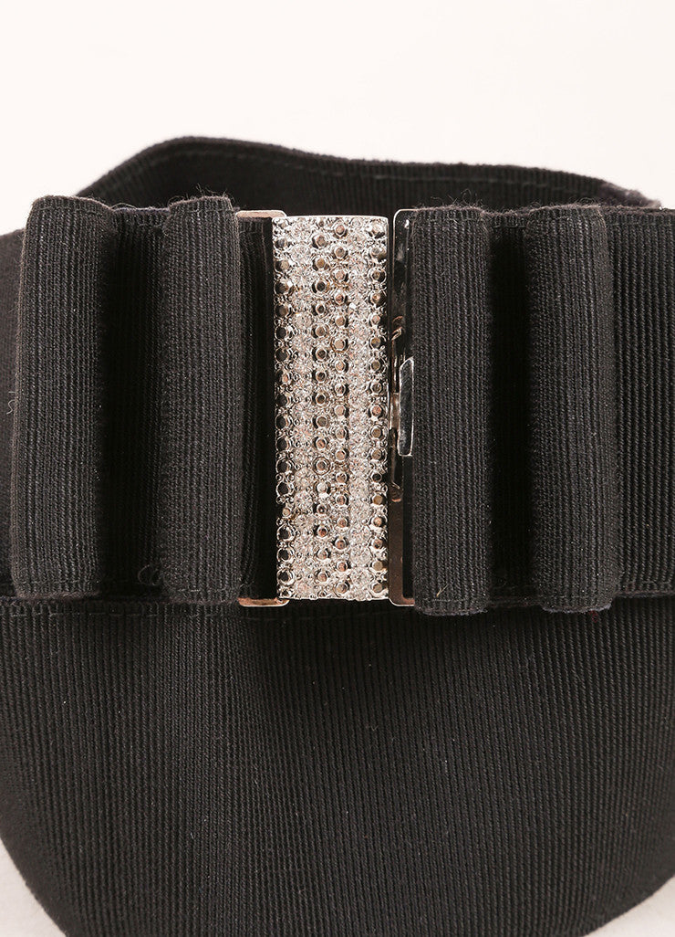 Valentino Black Crystal Buckle Ribbon Bow Belt Detail