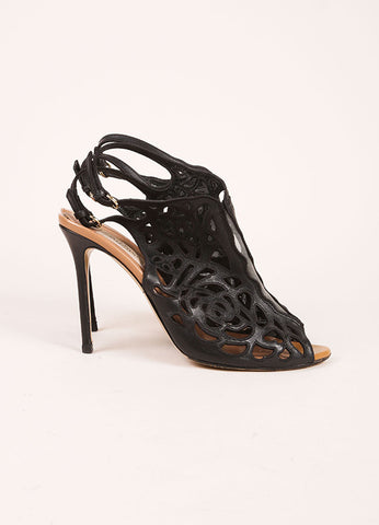 Valentino Black Lasercut Leather Mesh Inset Peep Toe Heeled Ankle Booties Sideview