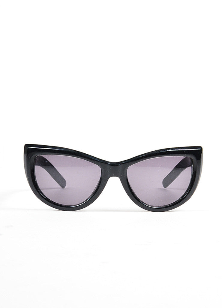 "Black and Silver Toned Valentino Plastic Cat Eye Retro Inspired ""5749 S"" Sunglasses Frontview"