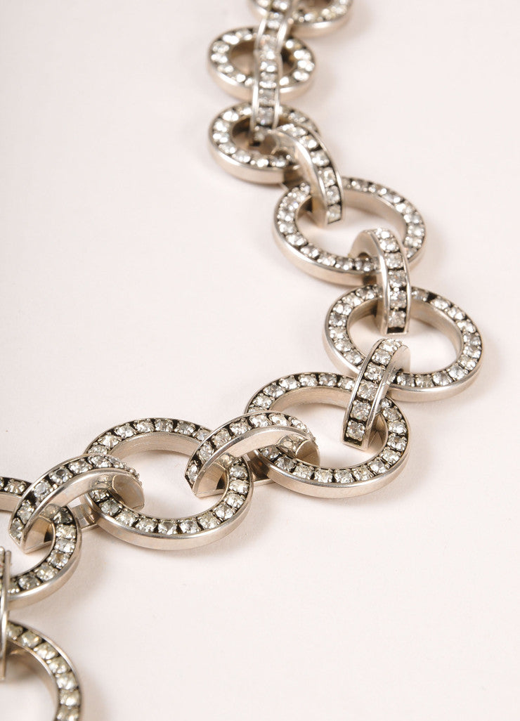 Valentino Silver Toned Rhinestone Circle Loop Chain Link Necklace Detail 2