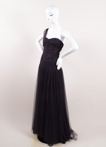 Vera Wang Purple Silk Tulle Sweetheart Neck One Shoulder Gown Sideview