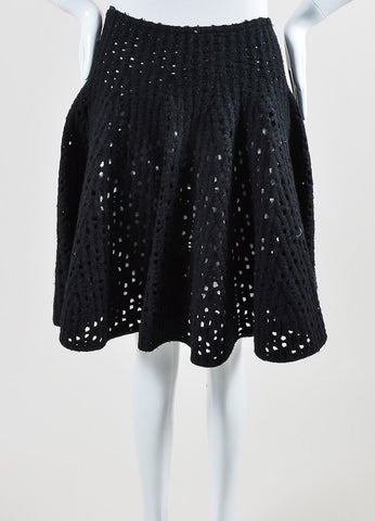 Alaia Black Fleece Wool Blend Laser Cut Short Swing Sweater Skirt Frontview