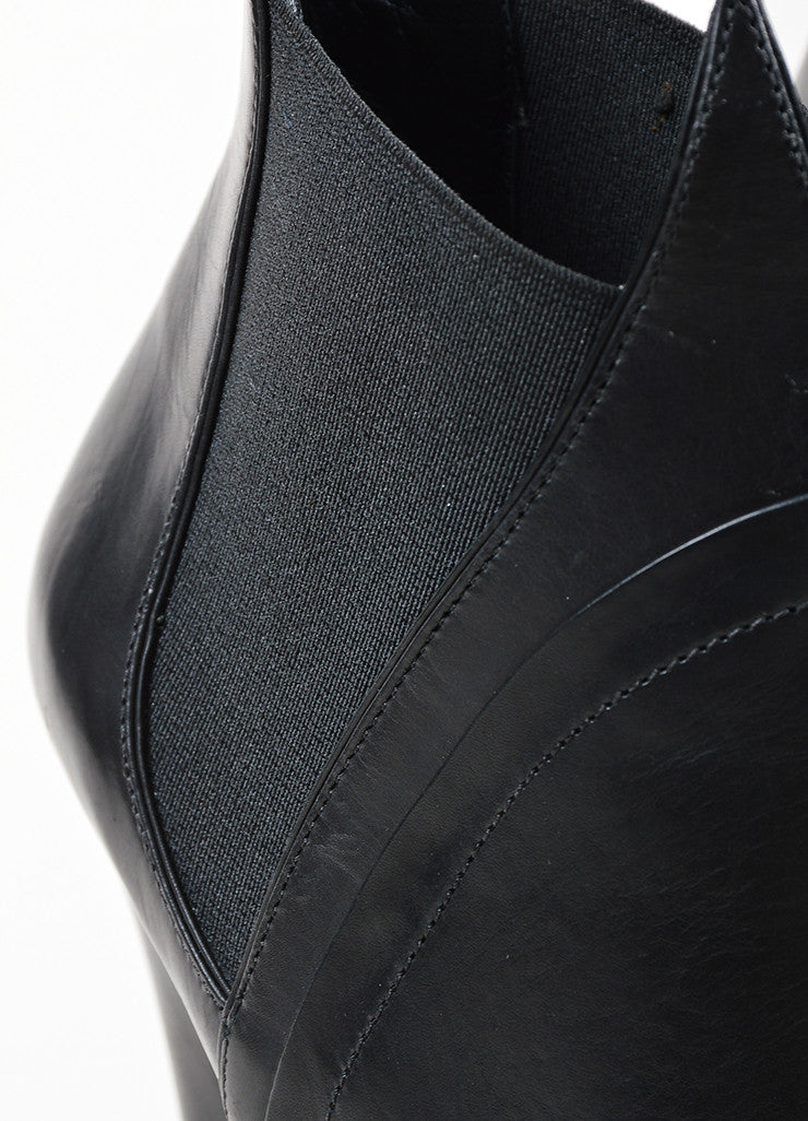 Black Alaia Leather Elastic Panel High Heel Platfrom Flame Ankle Boots Detail