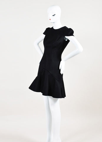 Alexander McQueen Black Cap Sleeve Peplum Hem Drop Waist Dress Sideview