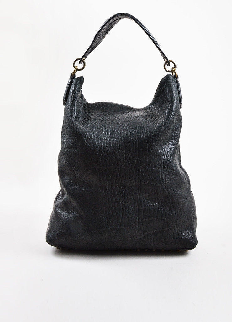 "Black Alexander Wang Pebble Leather Studded ""Darcy Tote Bag Front 2"
