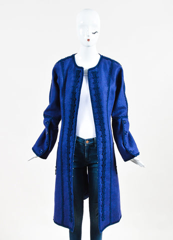 Andrew Gn Two Tone Blue Linen Embroidered Midi Coat  Frontview