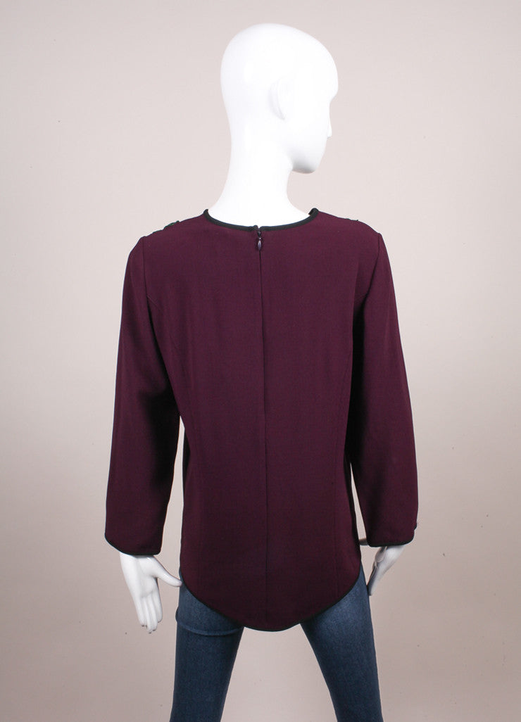 Andrew Gn New With Tags Purple and Green Embroidered Applique Long Sleeve Crepe Blouse Backview