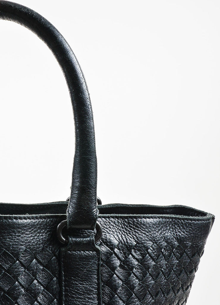 Black Bottega Veneta Leather Intrecciao Weave Detail Tote Bag Detail 2