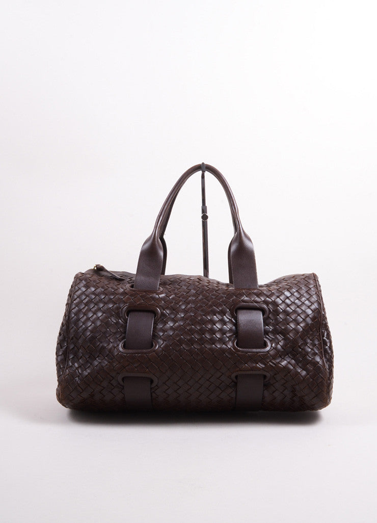 Bottega Veneta Dark Brown Intrecciato Leather Woven Satchel Bag Frontview