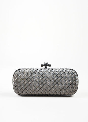 "Bottega Veneta Grey Satin Snakeskin Intrecciato Woven ""Knot"" Box Clutch Bag Frontview"