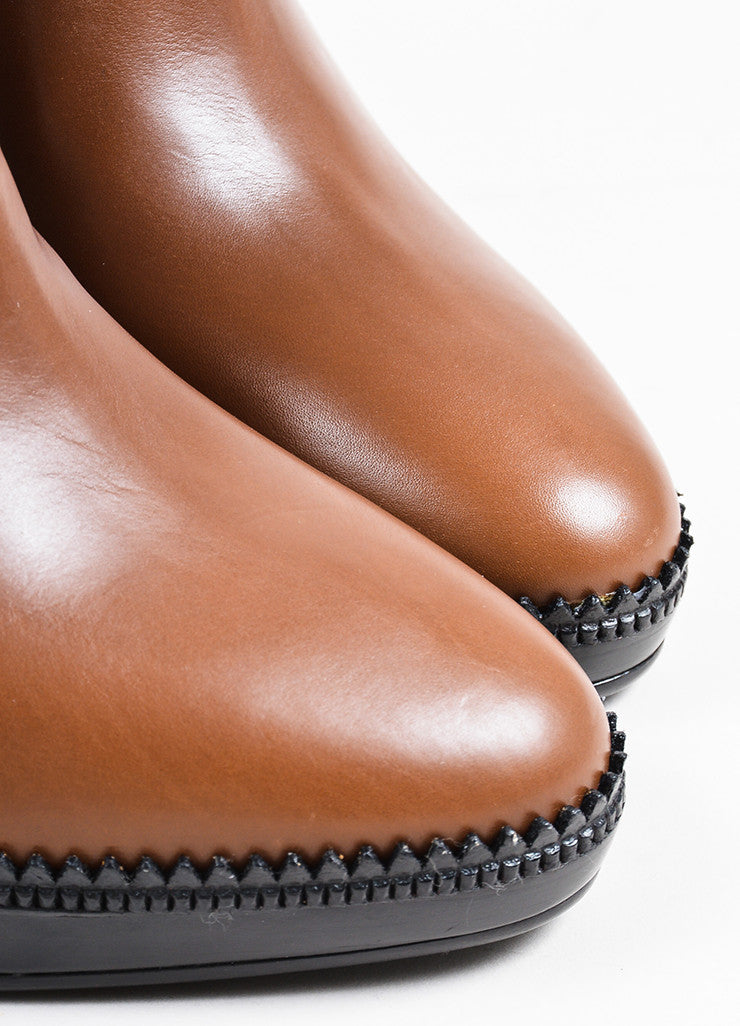 "Burberry ""Tan"" Brown Leather Platform ""Lysterfield"" Ankle Booties Detail"