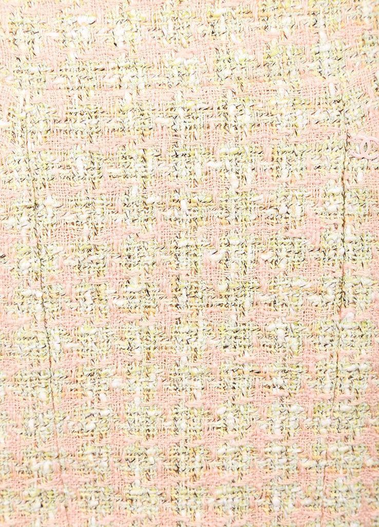Chanel Green and Pink Houndstooth Tulip Skirt Detail