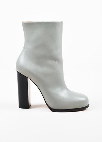 Celine Grey Leather Round Toe Stacked High Heel Mid Calf Boots Sideview