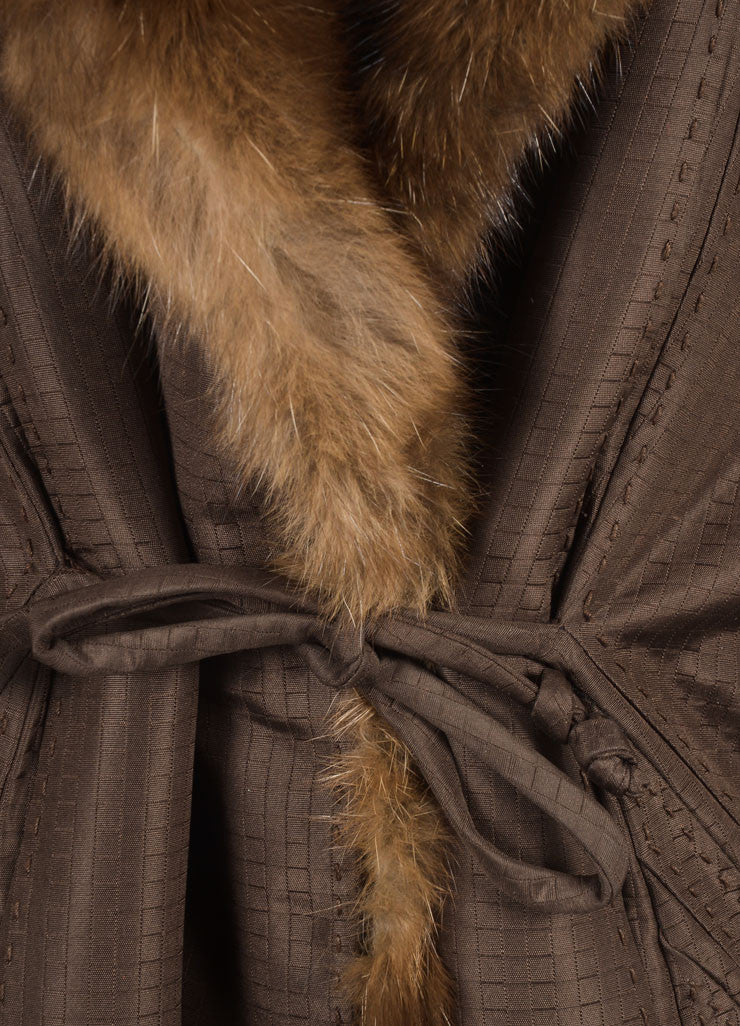 Chado Ralph Rucci Brown Silk Fur Trim Coat Detail